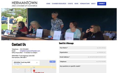 Screenshot of Contact Page hermantownchamber.com - Connect - captured Nov. 7, 2016
