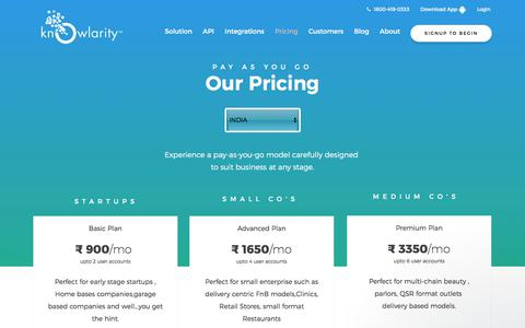 Screenshot of Pricing Page knowlarity.com - Virtual Number Pricing   Call Center Pricing   Click To Call Pricing   Outbound Solution Pricing - captured June 2, 2017