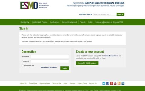 Screenshot of Login Page esmo.org - Sign in to Your myESMO Account | myESMO - captured Sept. 25, 2014