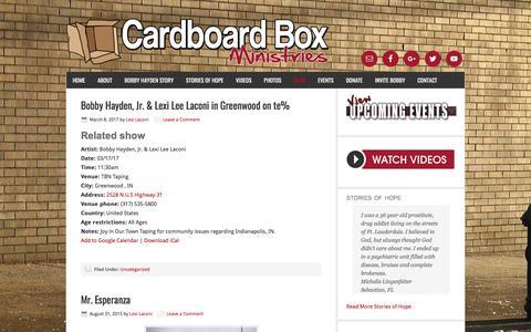 Screenshot of Blog cardboardboxministries.org - Blog - captured May 14, 2017