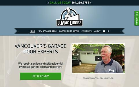 Screenshot of Home Page jmacdoors.com - Vancouver Garage Door Company based in Richmond - captured March 4, 2016