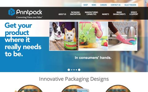 Screenshot of Home Page printpack.com - Flexible Packaging Company | Flexible & Rigid Packaging : Printpack - captured July 25, 2015