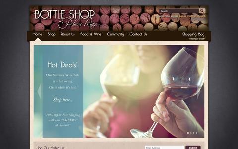 Screenshot of Home Page prbottleshop.com - Plume Ridge Bottle Shop - captured Oct. 3, 2014