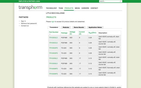 Screenshot of Products Page transphormusa.com - Products | Transphorm, Inc. - captured Sept. 17, 2014