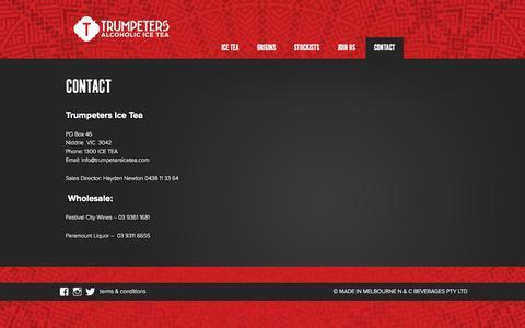 Screenshot of Contact Page trumpetersicetea.com - Contact | Trumpeters - captured Oct. 9, 2014