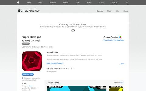 Screenshot of iOS App Page apple.com - Super Hexagon on the App Store on iTunes - captured Nov. 3, 2014