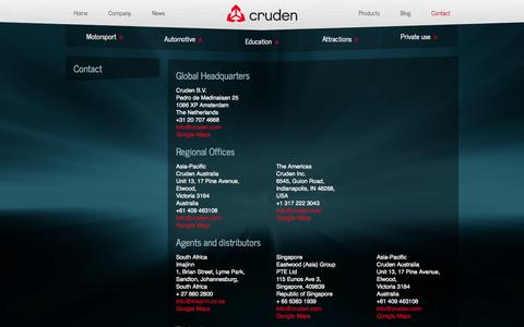 Screenshot of Contact Page cruden.com - Professional vehicle development and F1 motorsport simulator engineering by Cruden BV - Cruden - captured Oct. 3, 2014