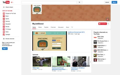 Screenshot of YouTube Page youtube.com - MyJobScout  - YouTube - captured Oct. 22, 2014