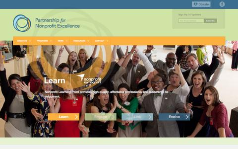 Screenshot of Home Page pnerichmond.org - Partnership for Nonprofit Excellence   Richmond Region's Catalyst for Advancing Nonprofits - captured Sept. 20, 2015