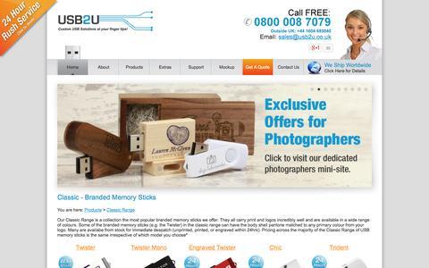 Screenshot of Products Page usb2u.co.uk - Promotional USB Flash Drives & Branded USB Memory Sticks - captured Sept. 22, 2014