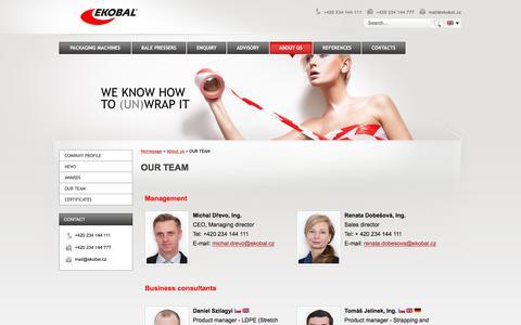 Screenshot of Team Page ekobal.com - OUR TEAM - captured July 17, 2018