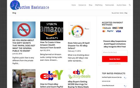 Screenshot of Blog auctionessistance.com - Auction Essistance - eBay, PayPal & Amazon Assistance - captured July 27, 2016