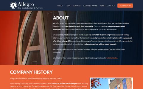 Screenshot of About Page allegrorealty.com - Commercial Real Estate Firm | Allegro - captured Feb. 5, 2016