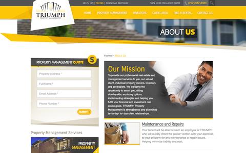 Screenshot of About Page triumphpropertymanagement.com - About Us | Triumph Property Management - captured Oct. 8, 2014