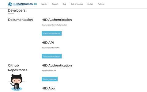 Screenshot of Developers Page humanitarian.id - Developers – Humanitarian ID - captured Nov. 3, 2018