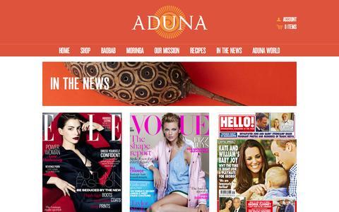 Screenshot of Press Page aduna.com - In the News – Aduna - captured Nov. 2, 2014
