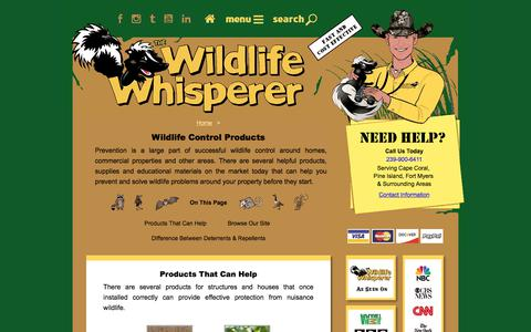 Screenshot of Products Page totalwildlifecontrol.com - Wildlife Control Products - The Wildlife Whisperer - captured Sept. 24, 2018