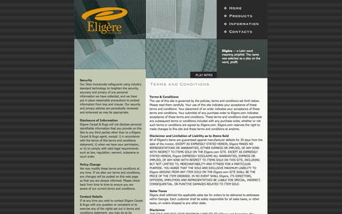Screenshot of Terms Page eligere.com - Contact Eligere Carpet and Rugs - captured Oct. 2, 2014