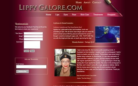 Screenshot of Testimonials Page lippygalore.com - Lippy Galore - Feedback - captured Jan. 30, 2016
