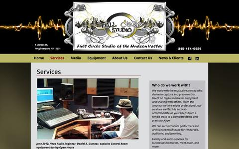 Screenshot of Services Page fullcirclestudiohudsonvalley.com - Recording Studio Services | Mastering CD's | Business Presentations - captured Oct. 6, 2014