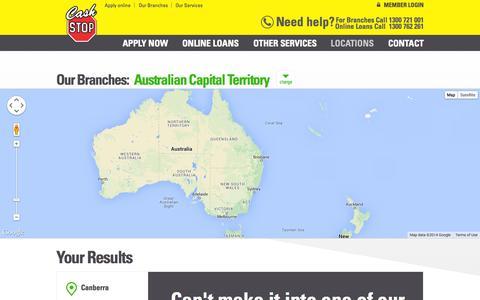Screenshot of Locations Page cashstop.com.au - Branch Locations Online Catalogue - Cash Stop - captured Nov. 1, 2014