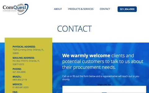 Screenshot of Contact Page comquestcorporation.com - Contact - Comquest - captured July 15, 2016