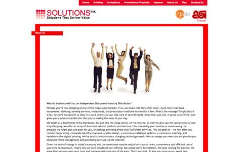 Screenshot of About Page solutionsink4u.com - Solutions Ink | Printing | Invitations | Promotional Products | Gift Cards | Apparel | Montreal - captured Oct. 6, 2014