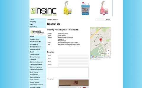 Screenshot of Contact Page cleaningproductsnz.co.nz - Contact Us - Cleaning Products, Degreaser, Floor Cleaner, Glass Cleaner, Dishwashing Detergents - captured March 18, 2016