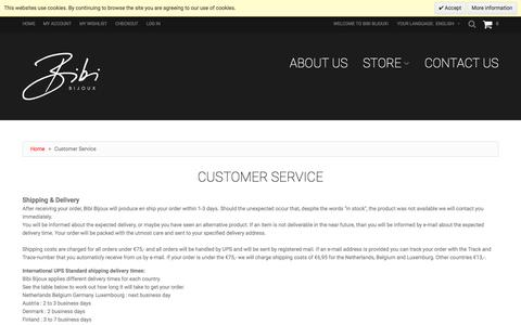 Screenshot of Support Page bibibijoux.com - Customer Service - captured Nov. 22, 2016