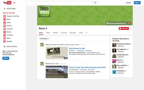 Screenshot of YouTube Page youtube.com - Raivo V  - YouTube - captured Oct. 26, 2014