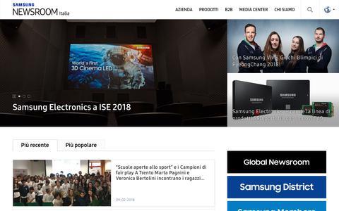 Screenshot of Press Page samsung.com - Samsung Italia Newsroom – Ultime notizie su Samsung Electronics. - captured Feb. 12, 2018