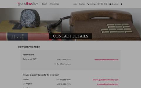 Screenshot of Contact Page onefinestay.com - Contact us | onefinestay - captured Sept. 12, 2014