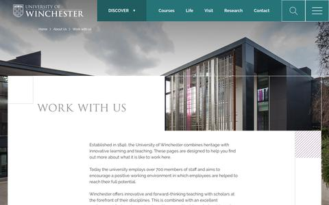 Screenshot of Jobs Page winchester.ac.uk - Work with us - University of Winchester - captured Oct. 20, 2018