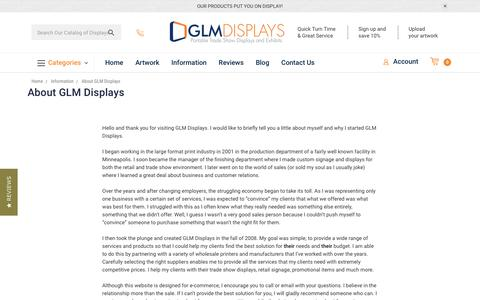 Screenshot of About Page glmdisplays.com - About GLM Displays | GLM Displays - captured July 15, 2018