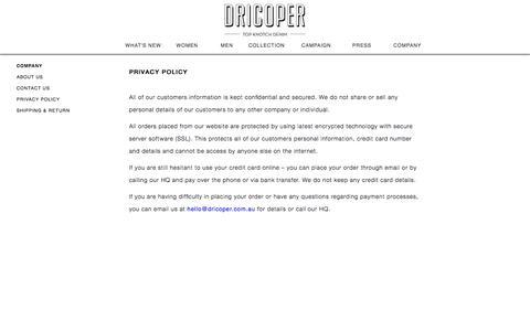 Screenshot of Privacy Page dricoper.com.au - Privacy Policy | Dricoper - captured Oct. 5, 2014