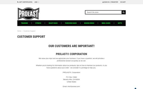 Screenshot of Support Page prolast.com - Contact Us - captured Nov. 3, 2018
