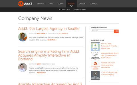 Company News Search Engine Marketing Blog Posts - Add3.com