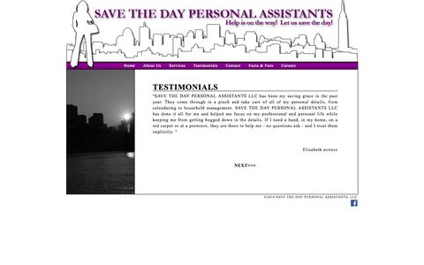 Screenshot of Testimonials Page savethedayassistants.com - SAVE THE DAY PERSONAL ASSISTANTS, LLC | Personal Assistant Service, Celebrity Assistant, Entertainment Assistants in New York City | Testimonials - captured Oct. 3, 2014