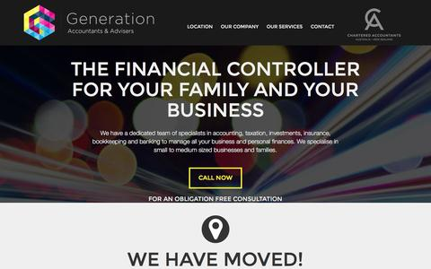Screenshot of Home Page generationaccountants.com.au - Generation Accountants & Advisers   Specialists in accounting, taxation, investments, insurance, bookkeeping and banking. - captured Jan. 19, 2017
