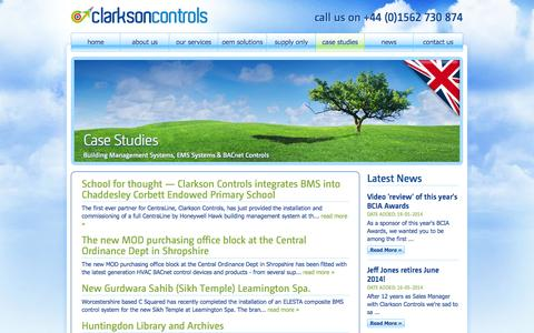 Screenshot of Case Studies Page clarksoncontrols.co.uk - Case Studies: Building Management Systems, EMS Systems & BACnet Controls - captured Oct. 2, 2014