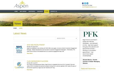 Screenshot of Press Page aspenpeople.co.uk - Aspen People Ltd | News - Aspen People Ltd - working in partnership with a broad range of private and public sector organisations helping them attract the highest calibre individuals - captured Oct. 4, 2014