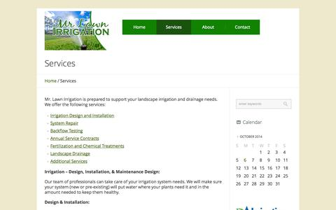 Screenshot of Services Page mrlawnirrigation.com - Services - Mr. Lawn Irrigation - captured Oct. 7, 2014