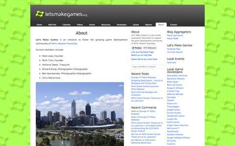 Screenshot of About Page letsmakegames.org - About «  Let's Make Games - captured Sept. 19, 2014