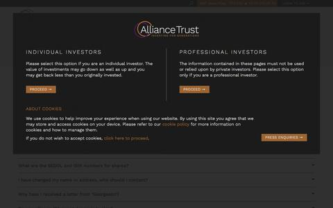 Screenshot of FAQ Page alliancetrust.co.uk - Frequently Asked Questions about Alliance Trust PLC - captured July 29, 2018