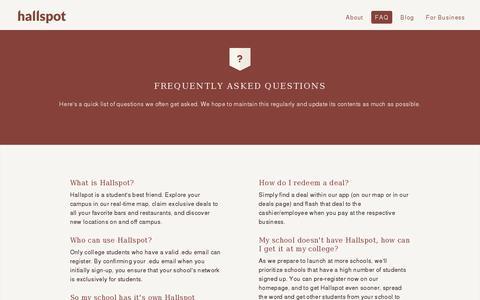 Screenshot of FAQ Page hallspot.com - Hallspot - College life, connected. - captured July 20, 2014
