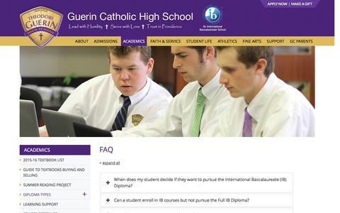 Screenshot of FAQ Page guerincatholic.org - FAQ | Guerin Catholic High School - captured Feb. 22, 2016