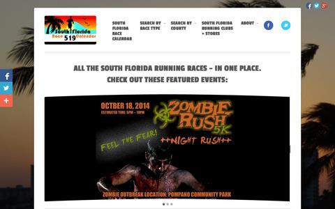 Screenshot of Home Page sflracecalendar.com - South Florida Race Calendar - Running - captured Oct. 6, 2014