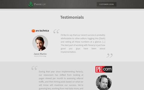Screenshot of Testimonials Page parsely.com - Buzz | Parse.ly - captured July 19, 2014