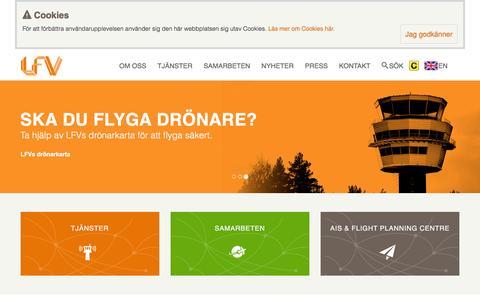 Screenshot of Home Page lfv.se - Start - captured July 9, 2016