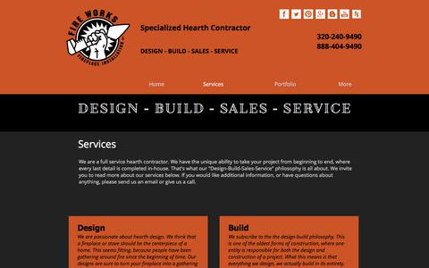 Screenshot of Services Page fire-works-fireplace.com - Services | Fire Works Fireplace | Design Build Sales Service | MN - captured June 6, 2017